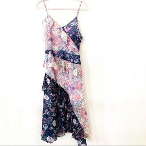Aqua Floral Patchwork Ruffle Dress
